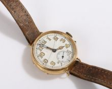 18 carat gold wristwatch, the white dial with Arabic numerals and subsidiary seconds dial, manual