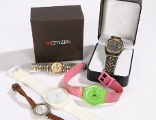 Wrist watches to include Rotary, Citizen, Swatch (qty)