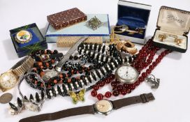 Jewellery to include pair of silver cufflinks, silver cigar piercer, bead necklaces, wristwatches by