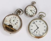 Continental silver open face pocket watch, Mira open face pocket watch, Hebdomas style open face
