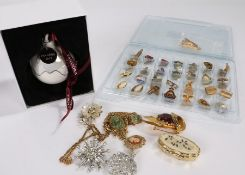 Costume jewellery to include cufflinks, brooches, Pandora Christmas bauble (qty)