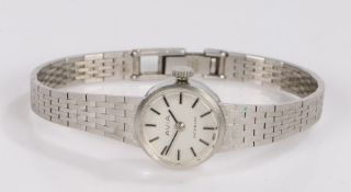 Avia 9 carat white gold ladies wristwatch, the signed silver dial with baton markers, manual