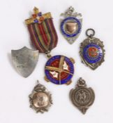 Mixed silver fobs, pendants and medals, 1.8oz (6)
