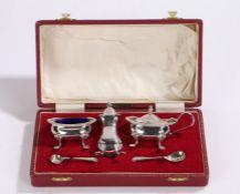 Elizabeth II silver condiment set, Sheffield 1970, makers Roberts & Belk Ltd, consisting of salt