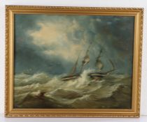 19th Century oil on board, ship in rough seas, unsigned, housed in a gilt frame, the oil 46cm x 36.