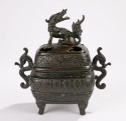 Tongzhi dynasty Chinese cast bronze covered censer raised on animal headed squat legs,the base