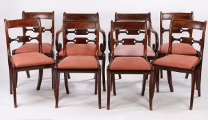 Set of eight Regency mahogany dining chairs, with bar backs above the shaped splat and drop in seats