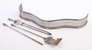 George III set of steel fire irons, to include the shovel, poker and tongs, the shovel 75cm long, (