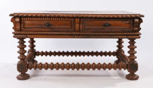 19th Century Anglo Indian rosewood table, the low table with a rectangular top above two frieze