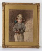 Elizabeth Murray, young boy wearing a hat with blue ribbon and holding black grapes, signed print,