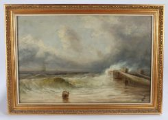 Attribute to E.M. Fison, oil on board, waves breaking on a beach with basket to the foreground,