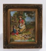 19th Century oil on canvas, feeding the ducklings, housed in a gilt and glazed frame, the oil 24cm x