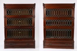 Pair of 1920's mahogany Globe Wernicke 'Elastic' bookcases, both in three astragal glazed tiered