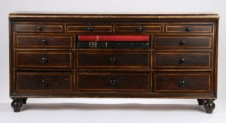 19th Century set of shops/clerks drawers, with an arrangement of short drawers painted in brown with