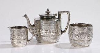 Victorian silver three piece tea set, Sheffield 1874, maker William & Henry Stratford, the bodies