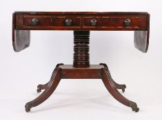 Regency mahogany sofa table, the rectangular top with drop flaps above a pair of frieze drawers