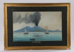 Early 20th Century gouache painting of Mount Vesuvius, a row boat and two sailing boats to the water