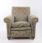 Heal & Son Ltd, a 1920's armchair, with a pad back above the scroll arms and seal, Heal & Son Ltd
