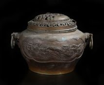 Japanese bronze censer, of large proportions, the pierced top with a scholar by his table and