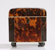 Regency period tortoiseshell tea caddy, of shaped octagonal form with ivory stringing and four