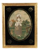 Early 19th Century silk work with a lady gardener, housed within the gilt and black glass frame,