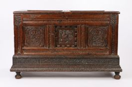 17th Century oak Marriage coffer, the rectangular twin panel coffer with carved text to the first