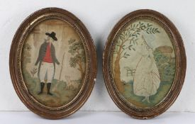 Two 19th Century silkwork pictures, the first depicting a hunter with his musket and a bird, a dog