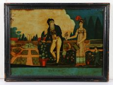 Early 19th Century reverse picture on glass, titled Evening, 35cm x 25cm