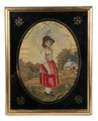 Early 19th Century silk work of a girl, standing in a lane near a cottage, inscribed on the back and