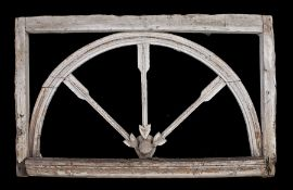 French late 18th Century window frame, the rectangular frame with an inner arch and three arrows