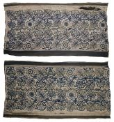 Two Crewelwork panels, in shades of green with a leaf and flower design, 122cm wide, 218cm long