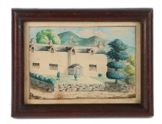 19th Century British primitive school, of a large house with tall and small trees, rolling hills