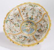 Italian Majolica Comependiario Bowl, Faenza, circa 1580 – 1600, the white lead glazed deep fluted