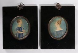 19th Century naïve miniatures, of a boy holding a spinning wheel and stick, together of a lady
