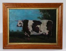 Early 20th Century primitive picture of a cow, the naïve painting with a large cow standing in a