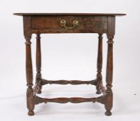 Late 17th Century oak side table, the rectangular top above a frieze drawer and turned supports