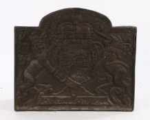 Cast iron fireback, with the date 1635 above the Royal Coat of Arms, 60cm wide