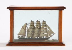 Irish 19th Century miniature cased model ship, the rectangular satinwood case with the Irish harp