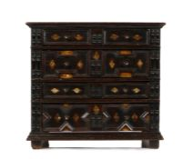 George III oak miniature geometric chest of drawers, in the 17th Century style, the rectangular