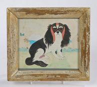 Victorian Folk Art picture of a dog, the King Charles Spaniel seated on grass with cliffs and the