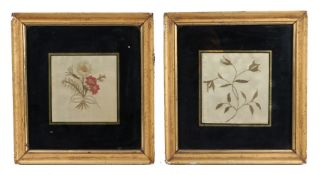 Pair of early 19th Century silk work pictures with flowers, with black glass and gilt edge to the