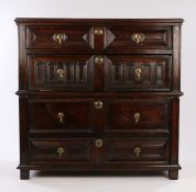 Charles II oak geometric chest of drawers, circa 1680, the rectangular top above four long