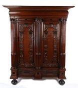 Rare 17th Century Dutch oak Keeftkast cupboard, an unusually small size, circa 1640, the deep and