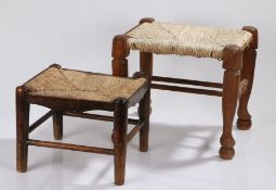 Two 19th Century stools, the first example with a rush seat above turned legs united by
