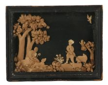 Unusual Folk Art curled paper picture, depicting a scene with a shepherd and shepherdess with