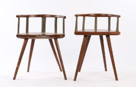 Near pair of Swedish Folk Art armchairs, the arched top rail with brown mottled paint above four