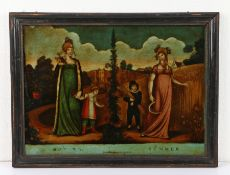 Early 19th Century reverse picture on glass, titled Spring Summer, 35cm x 26cm