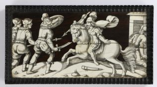 Set of four late Renaissance Italian panels, late 16th early 17th Century, rosewood and ivory