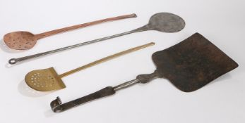 Collection of metal implements, to include an early 19th Century steel peel, a 19th Century copper