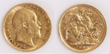 Edward VII Australian Sovereign, 1902, Melbourne mint, St George and the Dragon reverse
